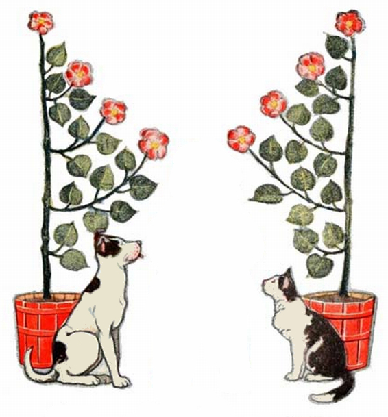 dog and cat frame vine art