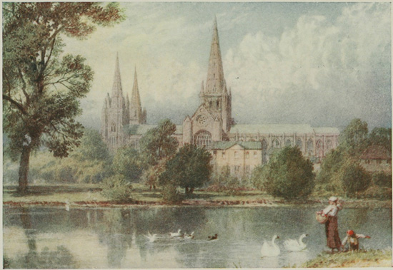 vintage landscape painting of Lichfield Cathedral