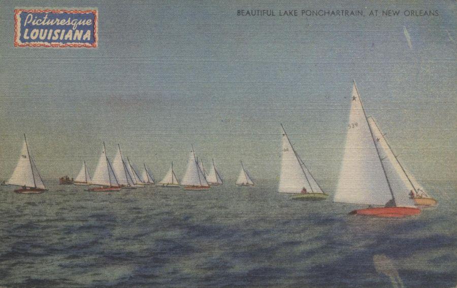 lake ponchartrain sailboat picture postcard