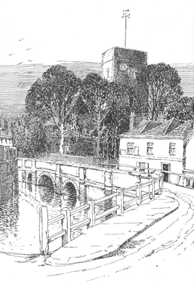 Town Bridge Coloring Page Free Vintage Art