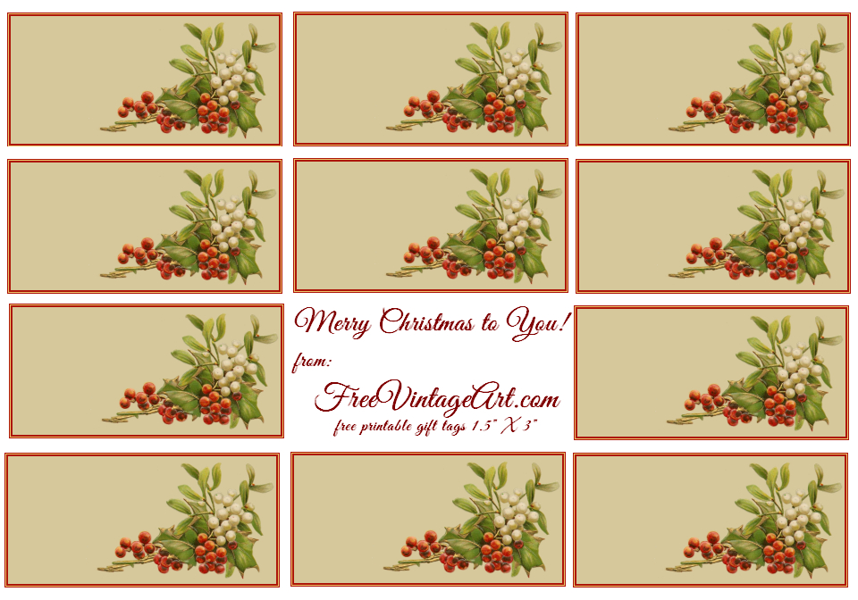 Printable Christmas Tags From Free Vintage Art
