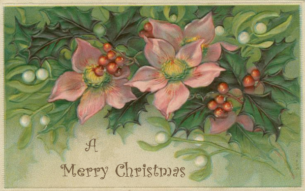 mistletoe and holly with pink flowers