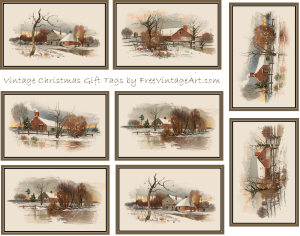 winter scene Christmas tags