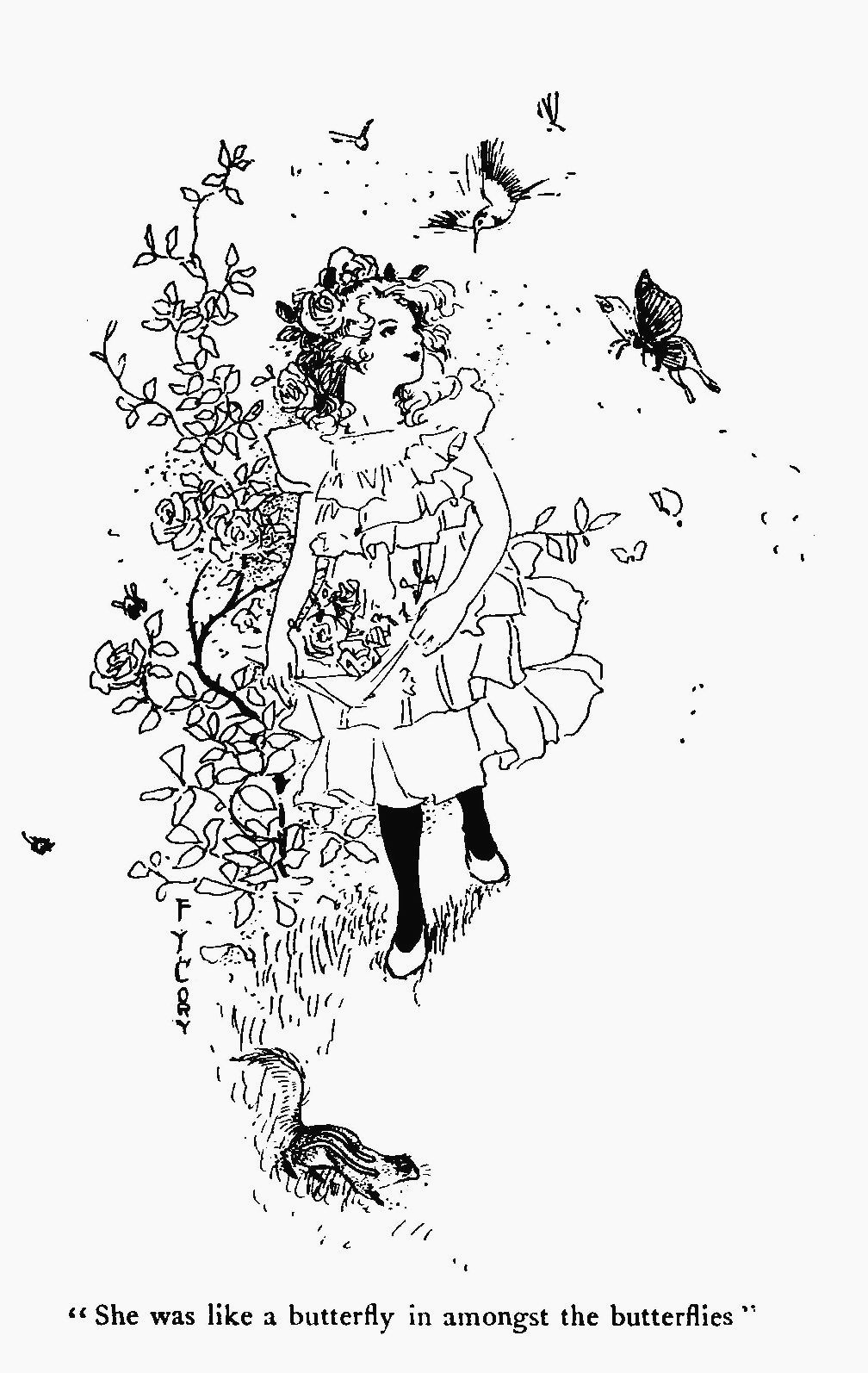 Girl & Flowers Coloring Page