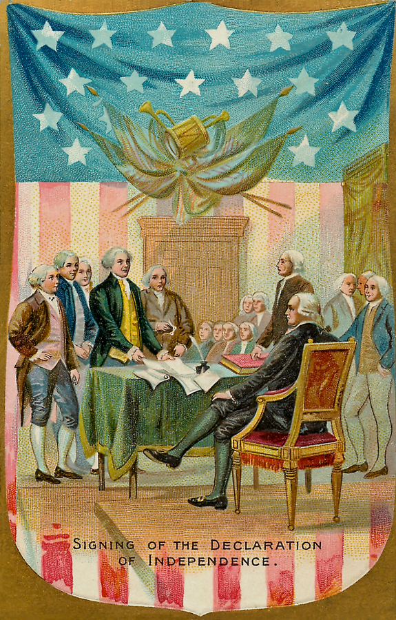 vintage postcard of the signing of the Declaration of Independence