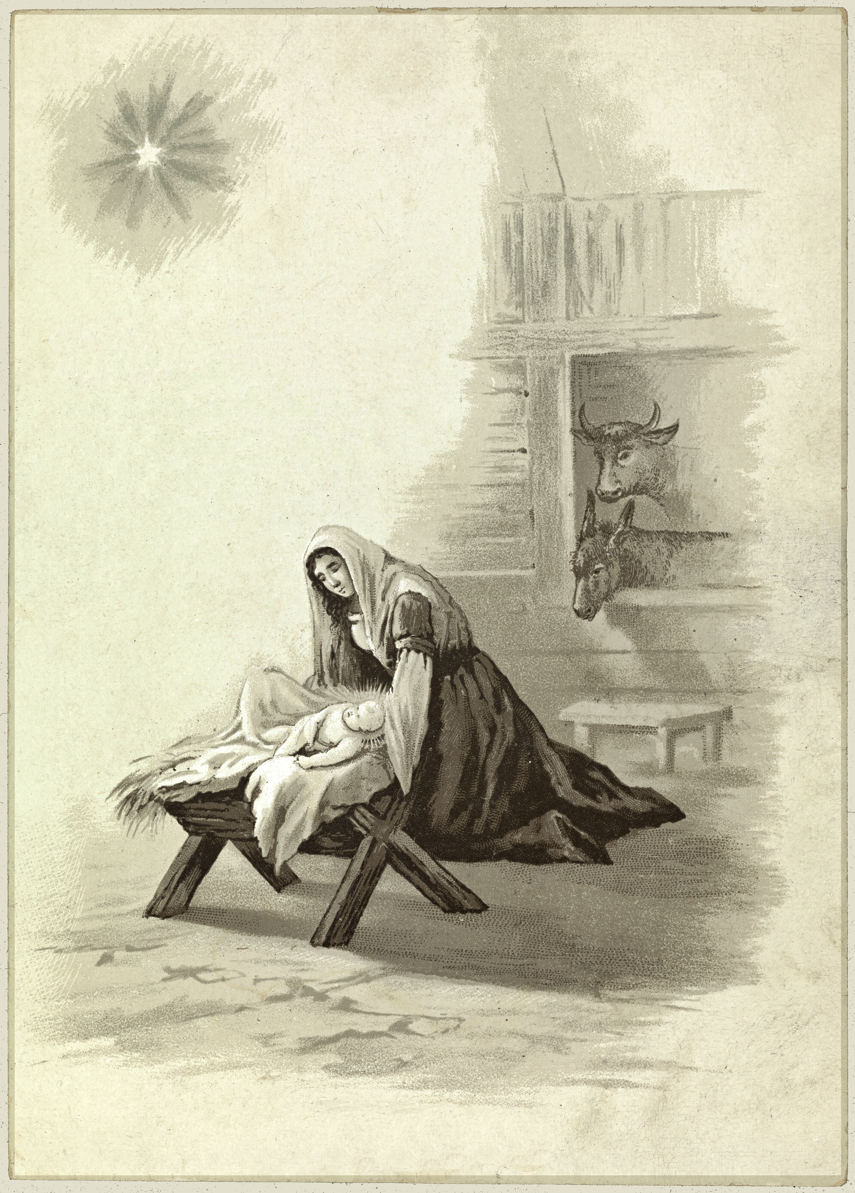 Christmas Nativity  from Norway  Free Vintage Art