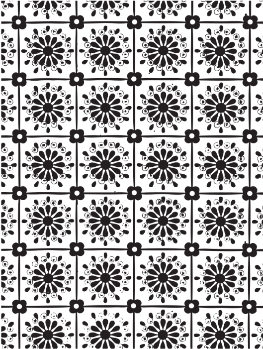 vintage black and white floral endpaper