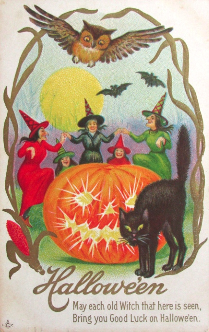 1911 vintage halloween dancing witches postcard