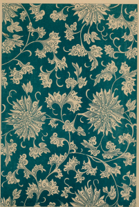 original Chinese floral pattern in teal and beige