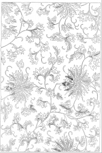 coloring page of a Chinese floral pattern