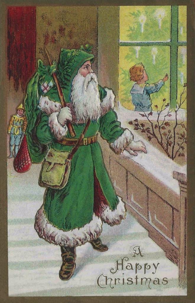 Victorian Green Santa