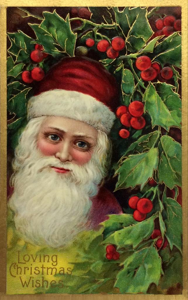 Santa in holly