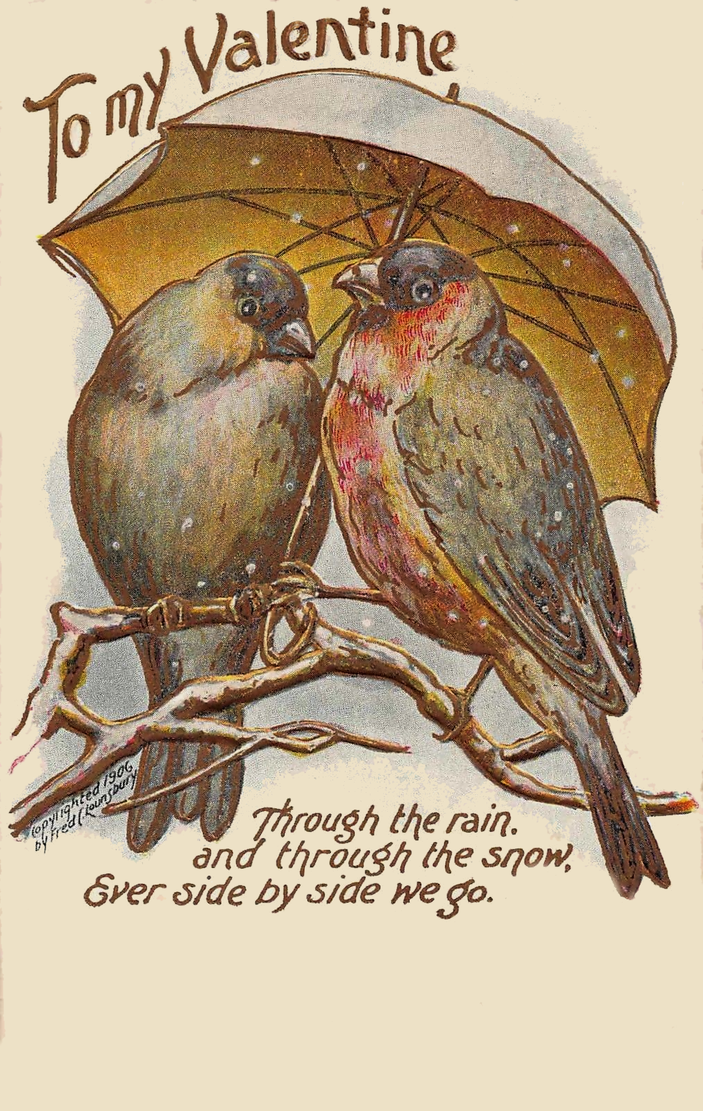 Love Birds, A Sweet Valentine Card from the Early 1900s