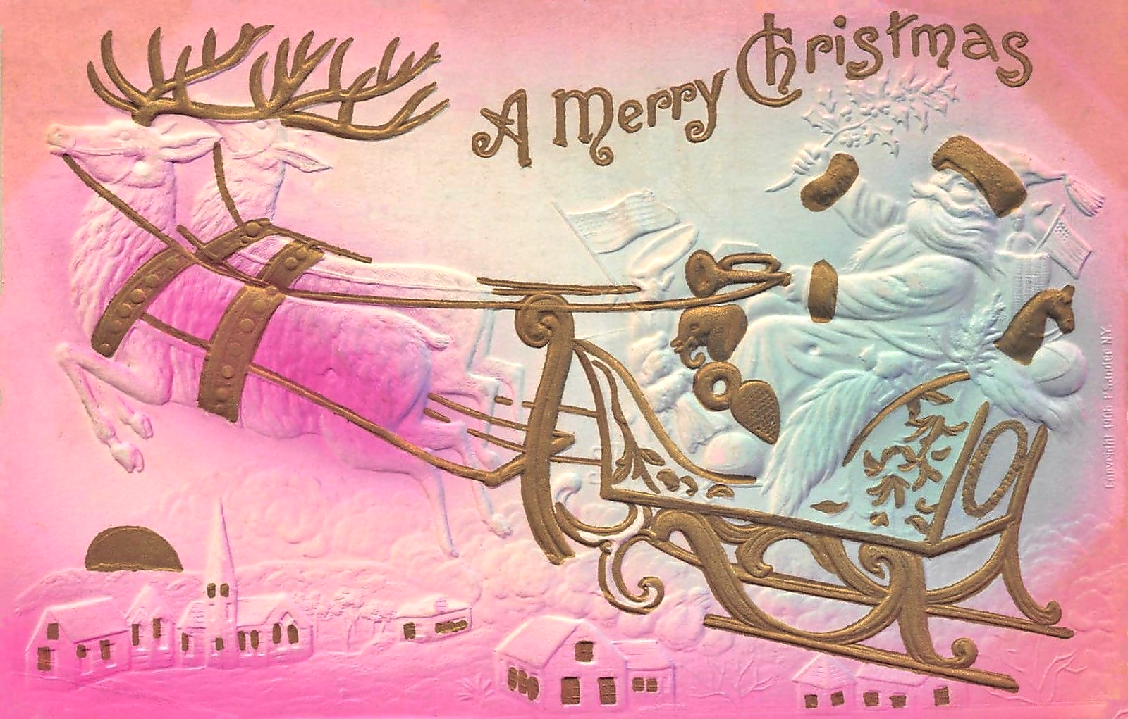 Pink Christmas.Santa Flying Over A Village A Vintage White Pink