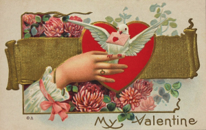 white dove with Valentine Post