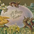 Easter bunnies a vintage Easter postcard