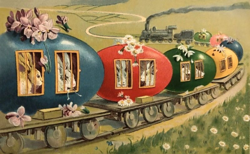 Easter Egg Train vintage Easter Postcard