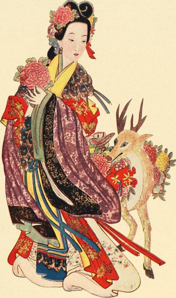 japanese woman and deer