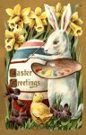 Easter Greetings from the Easter Bunny vintage postcard