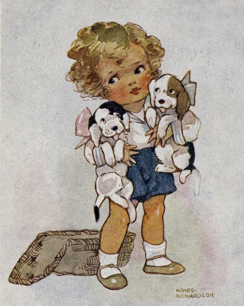 Little Girl with Beagle Puppies vintage illustration