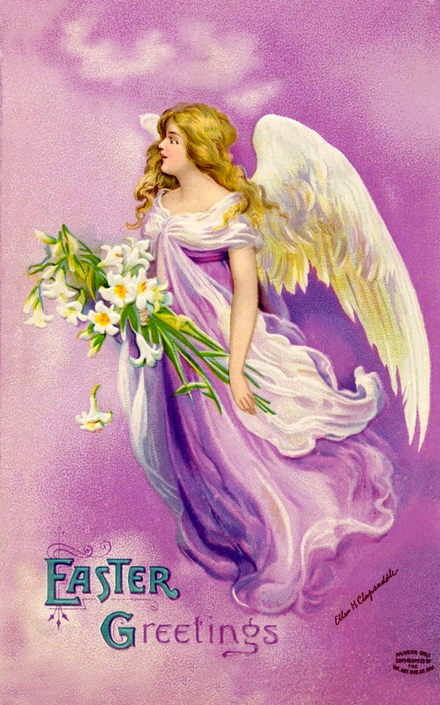Easter Angel Vintage Clapsaddle Easter postcard