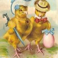 Vintage Easter Card of two chicks in their Easter Finery