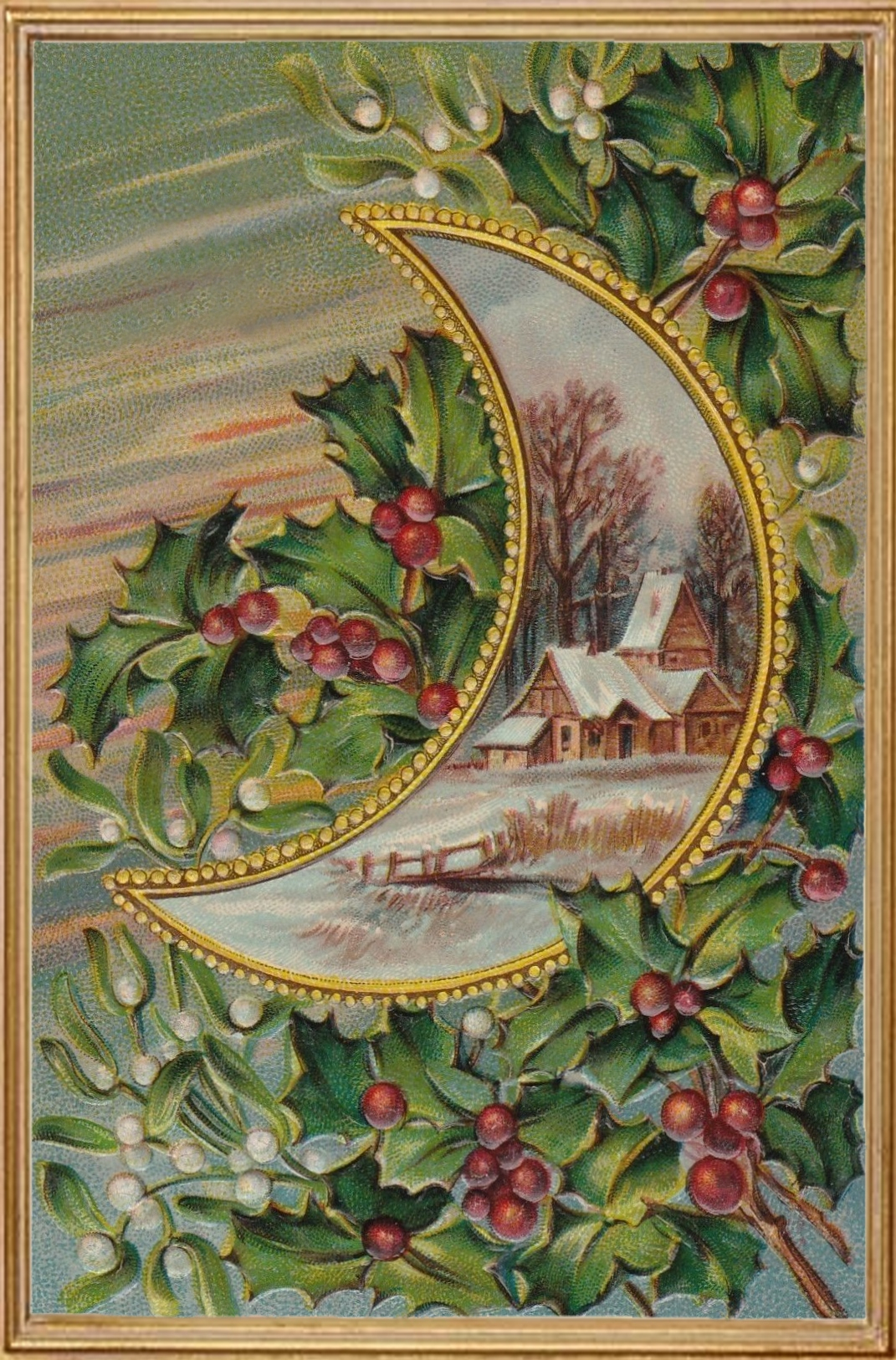 Mistletoe and Holly Christmas Greeting