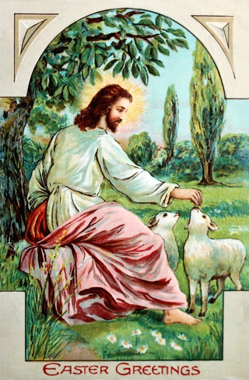 Jesus with Lambs a vintage Easter illustration and postcard