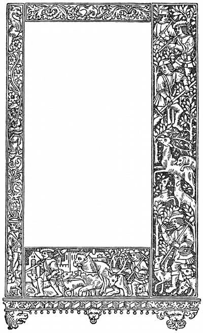 Medieval Hunting Frame & Border - free vintage illustration